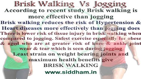 Is Brisk Walking better than Jogging ?   Siddham.in