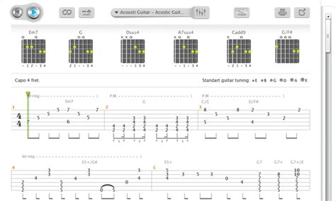 Is there a way to show chords  e.g. Am, B, etc ...