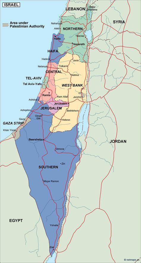 israel mapa politico en Illustrator   Netmaps. Mapas de ...