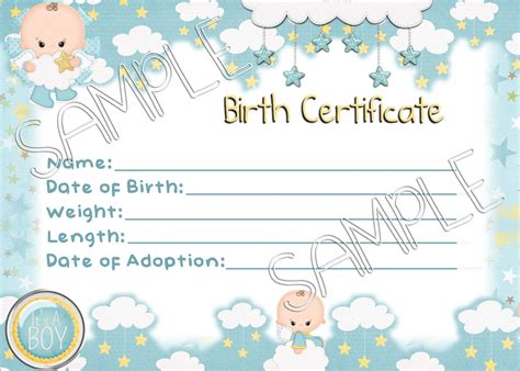 IT s a BOY Reborn Baby Doll Birth Certificate Instant