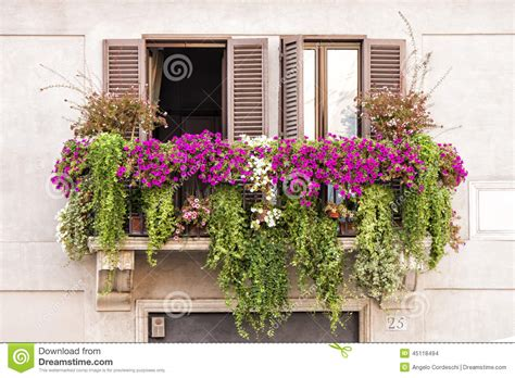 Italian Balcony Windows Full Of Plants And Flowers Stock ...