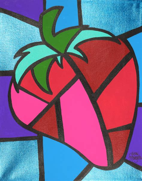 Items similar to Strawberry Cubism Art, Picasso Strawberry ...