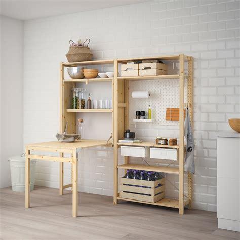 IVAR 2 módulo/almacenaje +mesa plegable, pino, blanco   IKEA