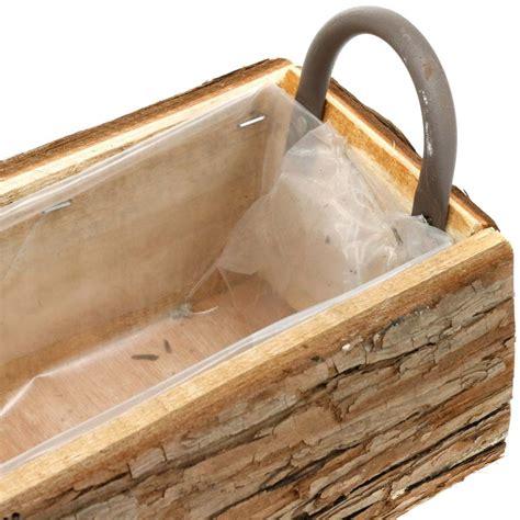 Jardinera, caja de madera con corteza, maceta con asas ...