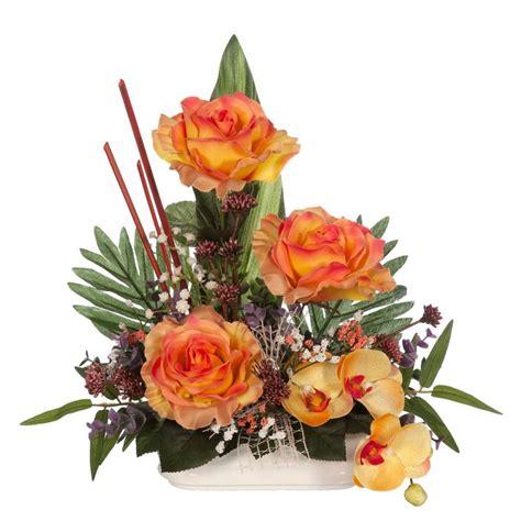 Jardinera cementerio flores artificiales con rosas ...