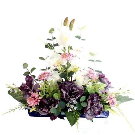 Jardinera flores artificiales cementerio con peonias y ...