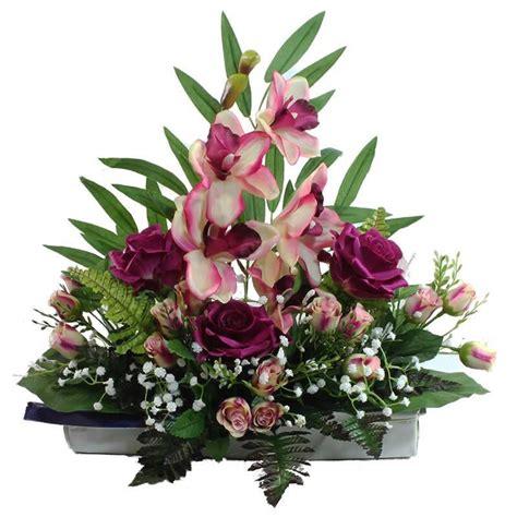 Jardinera flores artificiales cementerio orquideas y rosas ...