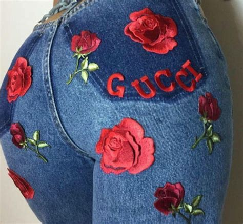 Jeans: blue, gucci, embroidered jeans, rose   Wheretoget