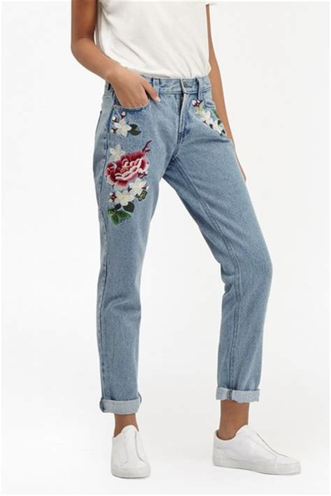 jeans, embroidered, rose, floral, embroidered jeans ...
