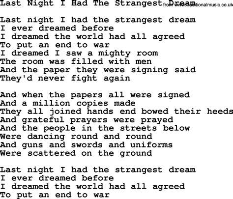 Joan Baez song   Last Night I Had The Strangest Dream, lyrics