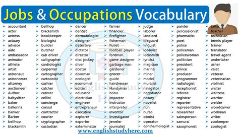 Jobs and Occupations Vocabulary   English Study Here