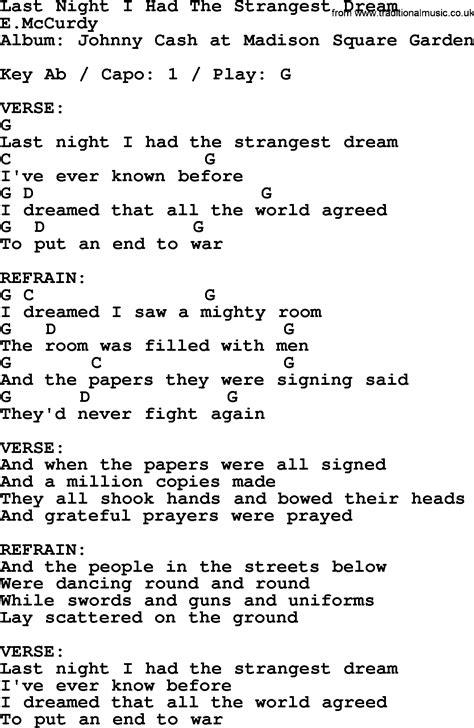 Johnny Cash song: Last Night I Had The Strangest Dream ...