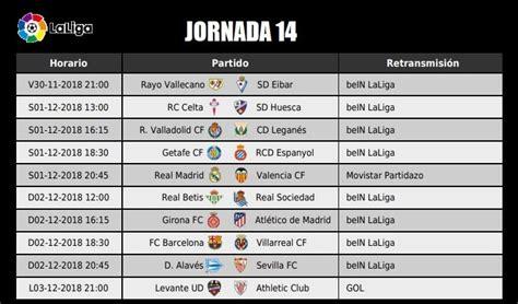 Jornada 14 Liga Santander 2018 | Partidos, Horarios y TV