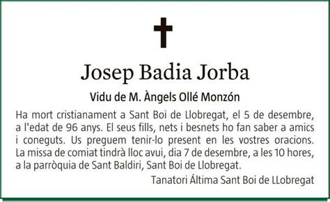 JOSEP BADIA JORBA : Fallecimiento : EnMemoria, el canal de ...