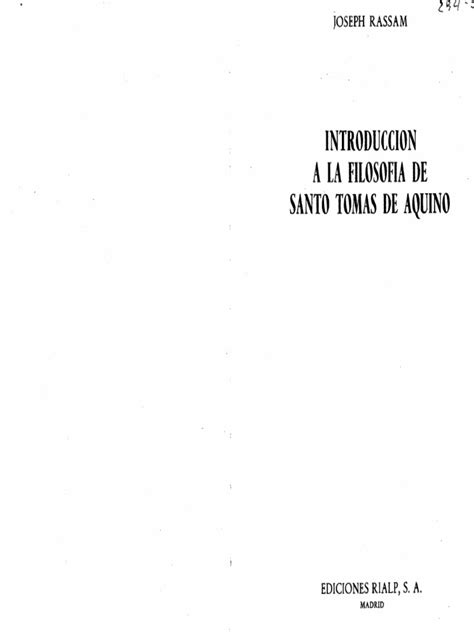 Joseph Rassam   Introducción a La Filosofía de Santo Tomás ...