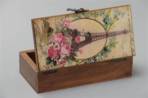 Joyero de madera caja decorativa artesanal con estampado ...