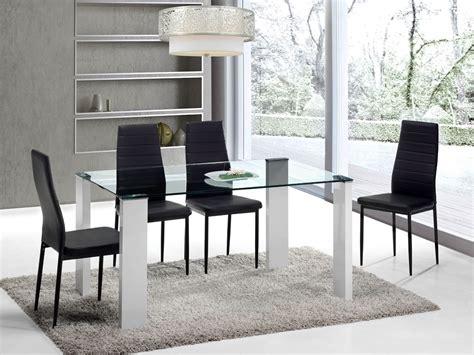 Juego de comedor con mesa de cristal y cuatro sillas de ...