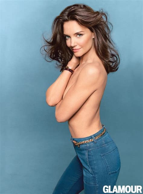 Katie Holmes Goes Topless, Wears Denim in Glamour Cover ...