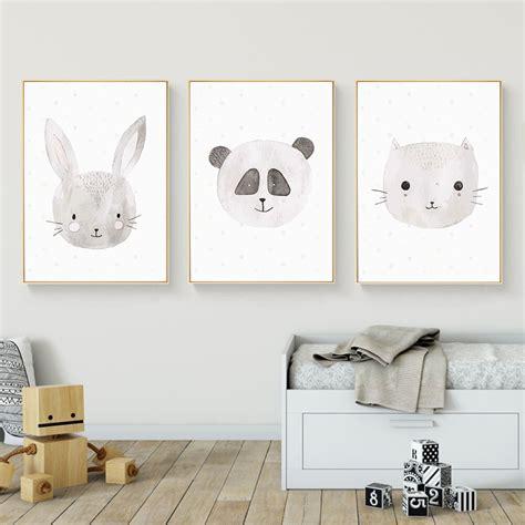 Kawaii Animal Rabbit Cat Fox Wall Art Canvas Posters and ...