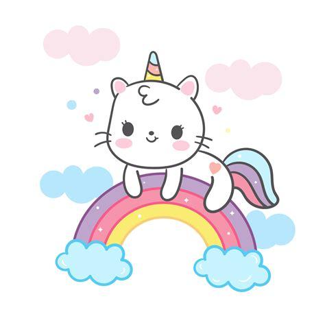 Kawaii Cat cartoon in unicorn vector on rainbow cute ...