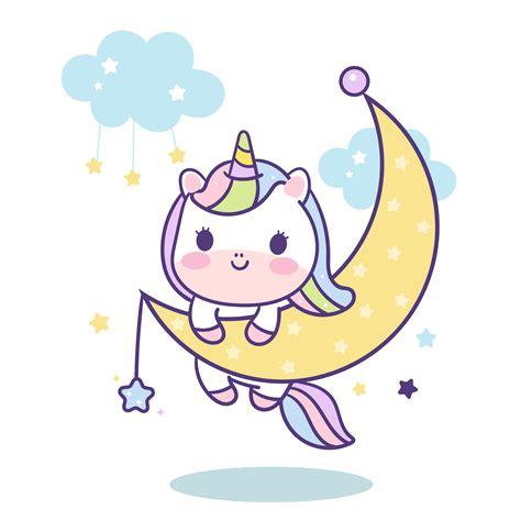 Kawaii Unicorn vettoriale sulla luna   Scarica Immagini ...