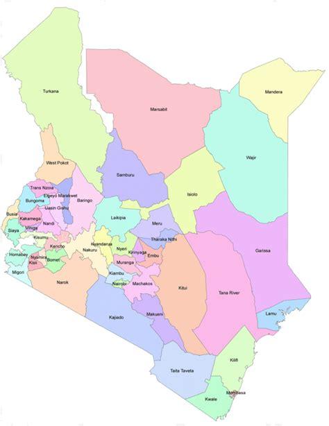 Kenya   administrative  comtés  • Carte • PopulationData.net