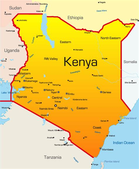 Kenya Map Showing Attractions & Accommodation