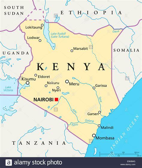 Kenya Political Map with capital Nairobi, national borders ...