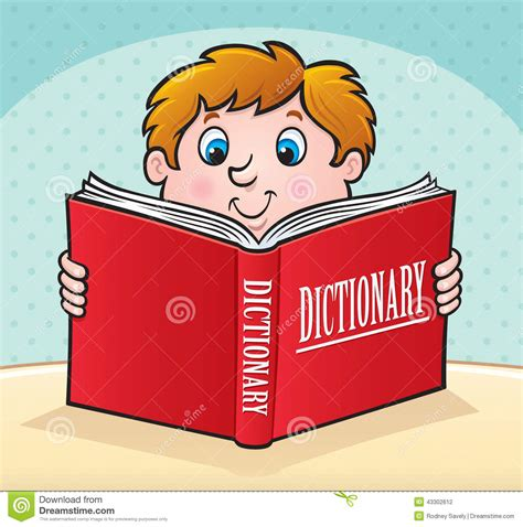 Kid Reading A Large Red Dictionary Stock Illustration ...