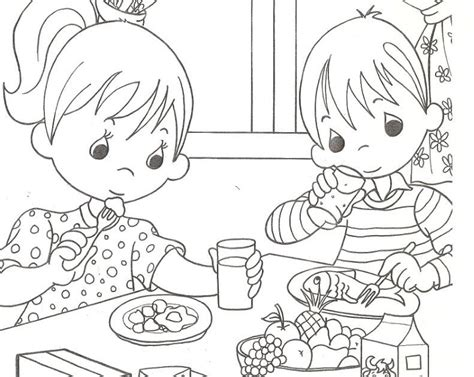 Kids eating healthy, free coloring pages | Coloring Pages