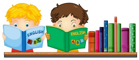 Kids reading English book   Download Free Vectors, Clipart ...