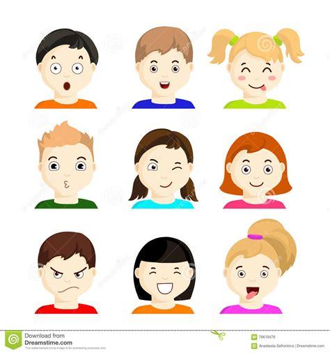 Kids With Different Emotions. Set 1 Stock Illustration ...