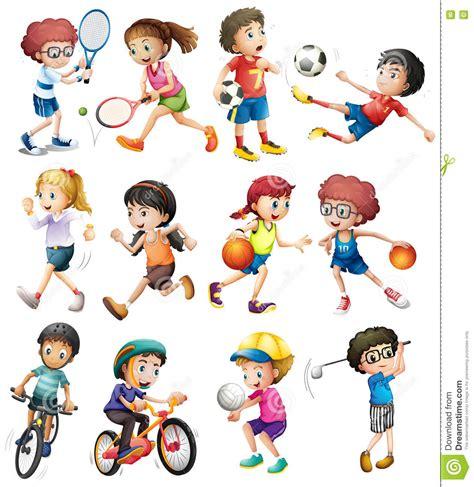 Kinder, Die Unterschiedlichen Sport Tun Stock Abbildung ...