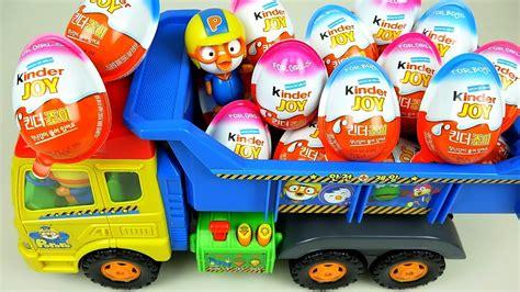 Kinder Joy Surprise eggs and Pororo truck toys   YouTube