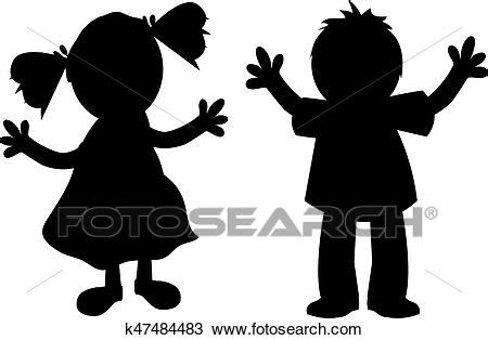 Kinder, silhouette Clipart | k47484483 | Fotosearch