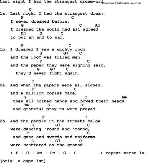 Kingston Trio song: Last Night I Had The Strangest Dream ...