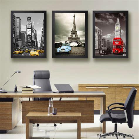 Kit 3 Quadros Nova York Paris Londres Decorativo ...