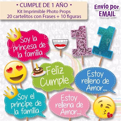 Kit Imprimible Cumple 1 Año Cartelitos Con Frases + Figura ...