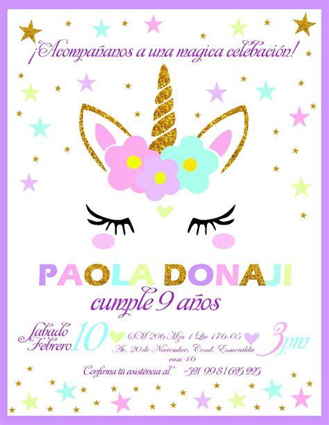 Kit Imprimible Cumpleaños Invitación Unicornio   $ 250.00 ...