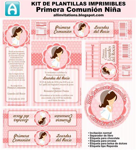 Kit Imprimible Primera Comunión Niña   All Invitations