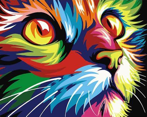 Kit Oleo Pintura Por Números Diy   Obra Gato Colores ...