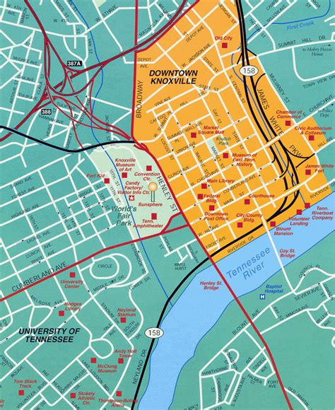 Knoxville TN Tourist Map   Knoxville TN • mappery