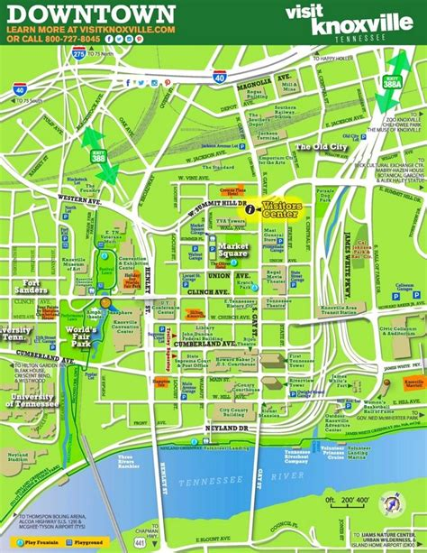 Knoxville tourist map