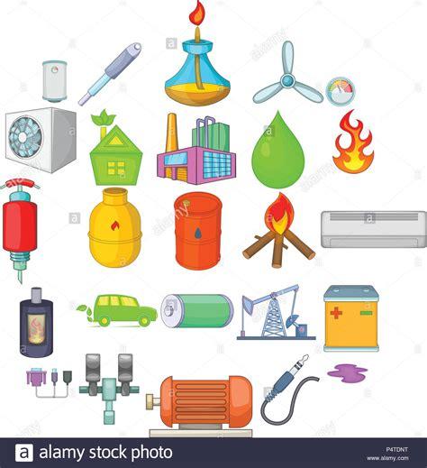L énergie non renouvelables, cartoon style icons set ...