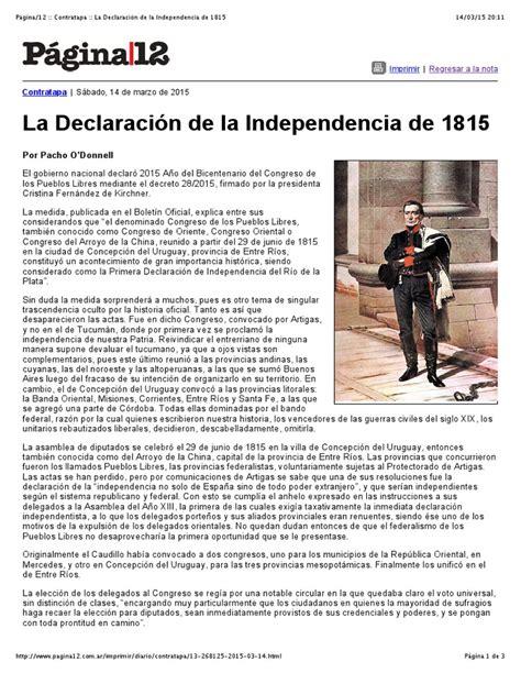 La Declaración de La Independencia de 1815 | Uruguay ...