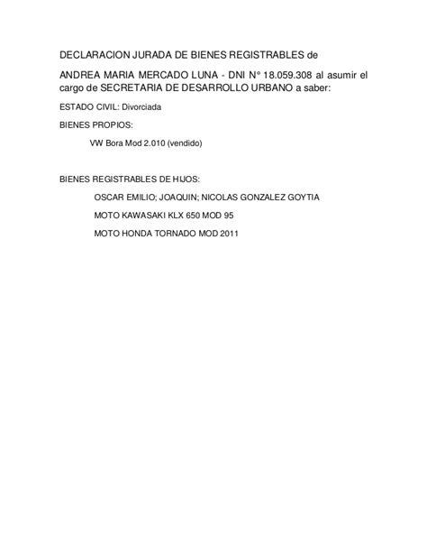La declaración jurada de Andrea Mercado Luna