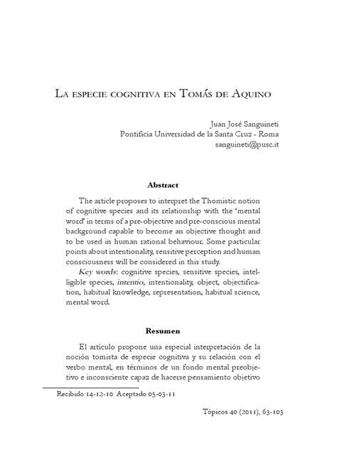 La especie cognitiva en Santo Tomás de Aquino.pdf | Edmund ...