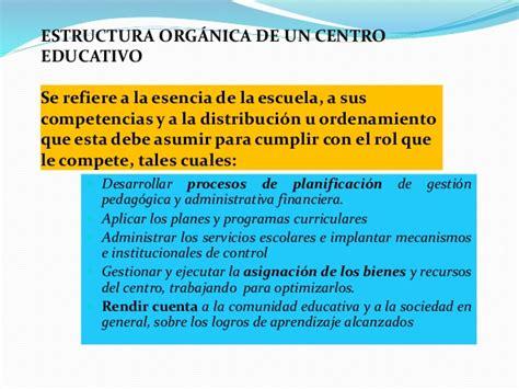 La estructura organizativa de los centros educativos
