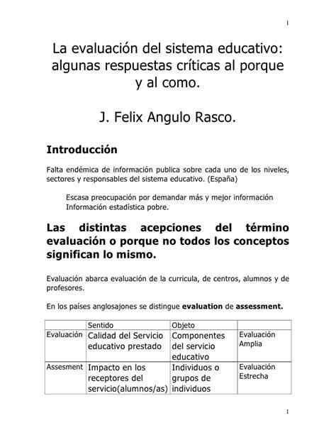 La EvaluacióN Del Sistema Educativo Rasco Angulo