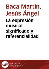 La expresión musical: significado y referencialidad ...